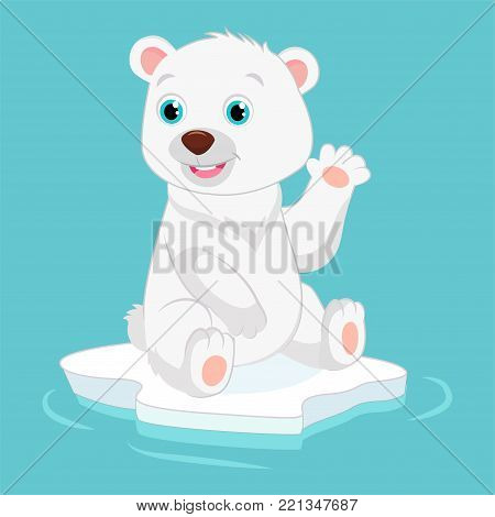 Cute Happy Little Polar Bear Vector Illustration. Smiling Polar Bear Waving Hand. Cartoon Vector Character.