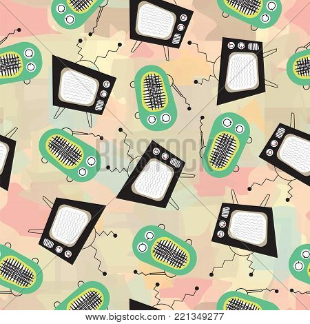 Retro television and vintage radio on abstract background vector pattern. Vintage TV and old radio receiver on light background vector pattern