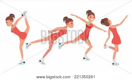 Woman Figure Skater Vector. Winter Sports. Skater Female. Different Poses. Flat Cartoon Illustration
