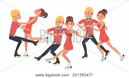 Pair Figure Skating Couple Boy And Girl Vector. Skate Male And Female. Isolated On White Cartoon Character Illustration