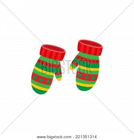 Pair of striped knitted mittens, red and green, winter icon, flat cartoon vector illustration isolated on white background. Two warm knitted mittens decorated with striped pattern