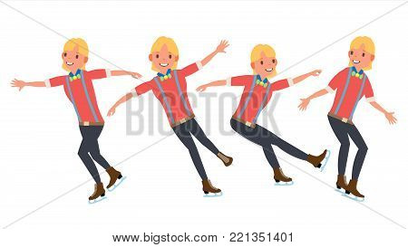 Boy Figure Skater Vector. Winter Sports. Skater Male. Different Poses. In Action. Flat Cartoon Illustration