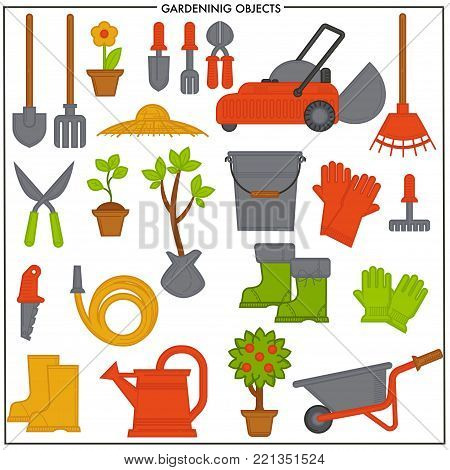 Gardening objects set composed of convenient metal tools. Electric lawn mower, iron bucket, rubber boots, compact cart, big spade and rake, sharp secateurs and long hose isolated vector illustrations.