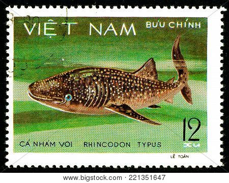 Ukraine - circa 2018: A postage stamp printed in Vietnam shows drawing Whale Shark or Rhincodon typus. Series: Shark and Dogfish. Circa 1980.