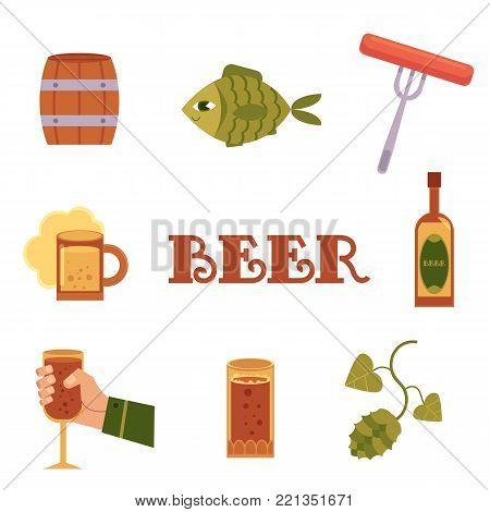 Set of flat style beer icons - bottle, mug, glass in hand, malt, hop, fish, sausage, barrel, vector illustration isolated on white background. Flat set of beer bottle, mug, glass, sausage, fish, hop