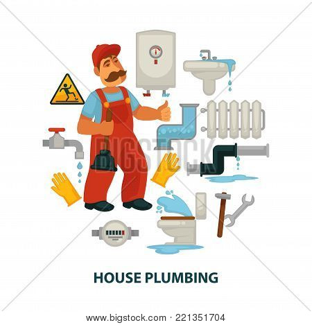 House plumbing promotional poster with plumber in work uniform, broken sanitary engineering, modern water heater and tool to repair isolated cartoon flat vector illustration on white background.