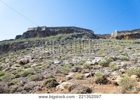 Old Fortress On Top Of A Mountain On The Island Of Crete.