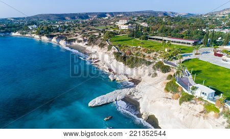 Aerial view of coastline and landmark big white chalk rock at Governor's beach, Limassol, Cyprus