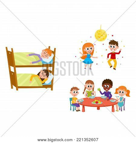 vector summer camp kids set. Caucasian, african Girls, boys eating porridge, fruits vegetables at table, sleeping in bunk bed, dancing at party under disco ball. Isolated illustration white background