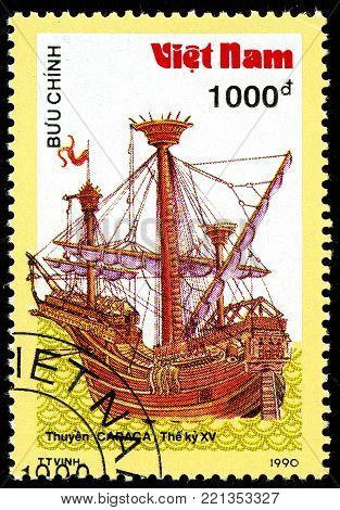 Ukraine - circa 2018: A postage stamp printed in Vietnam shows ship 15th - Century Carrack. Series: Ancient boats. Circa 1990.