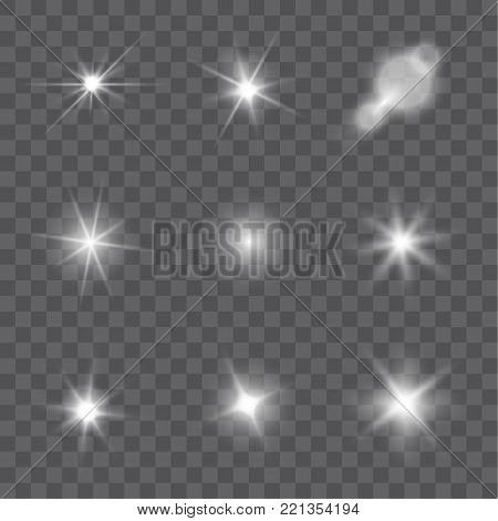 Collection of vector light effects and lens flares isolated on transparent background