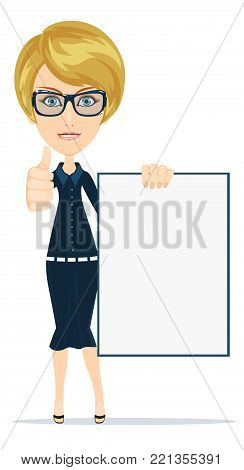 Young casual woman holding a white board. Stock vector illustration for poster, greeting card, website, ad, business presentation, advertisement design.