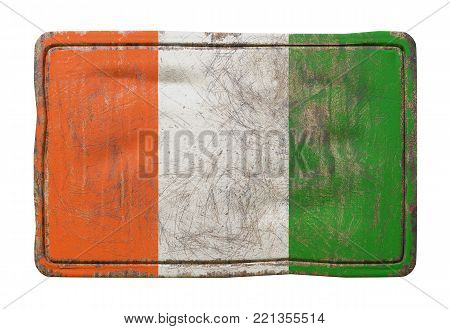 3d Rendering Of A Ivory Coast Flag Over A Rusty Metallic Plate. Isolated On White Background.