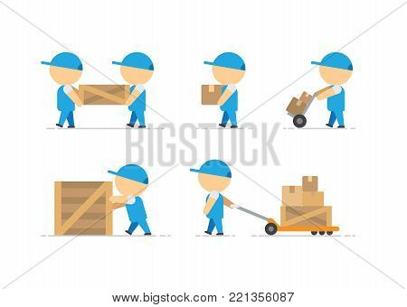 Man loader with wooden box in hands and container on freight trolley on white background vector illustration
