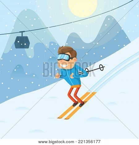 Sports man riding a winter ski on snow slope on background ski resort in mountains and car cabine on ski lift vector illustration