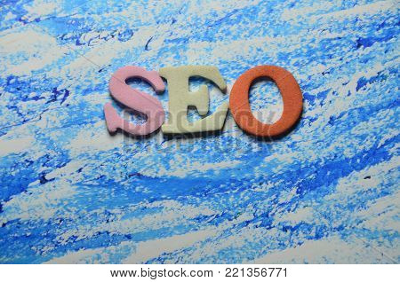 word seo on an  abstract colored backround
