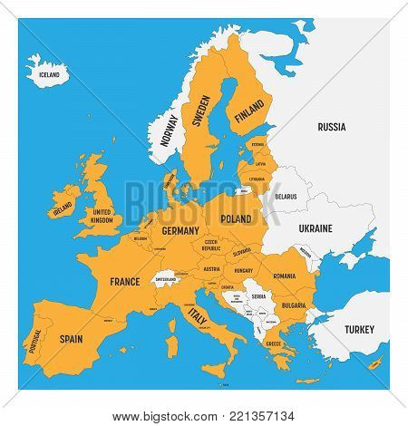 Political map of Europe with white land and yellow highlighted 28 European Union, EU, member states. Simple flat vector illustration.