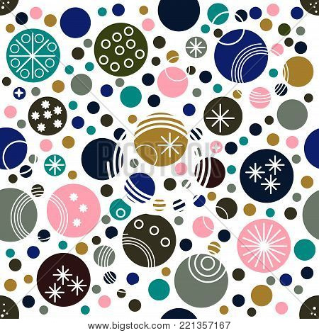 Doodle festive colorful seamless pattern. Retro style dotted wallpaper. Random polka dot background. Pink, blue, yellow, green circles on white. Spotted abstract seamless pattern. Vector illustration.