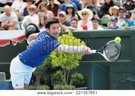 Melbourne, Australia - January 10, 2018: Tennis player Novak Djokovic  preparing for the Australian Open at the Kooyong Classic Exhibition tournament
