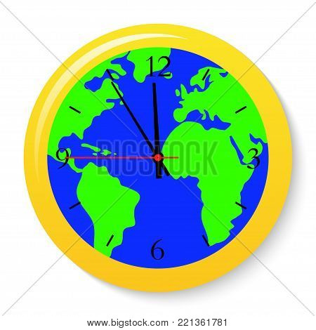 A clock with a world map on the dial. Vector illustration.