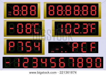 Electronic scoreboard clock and thermometer. Vector illustration.