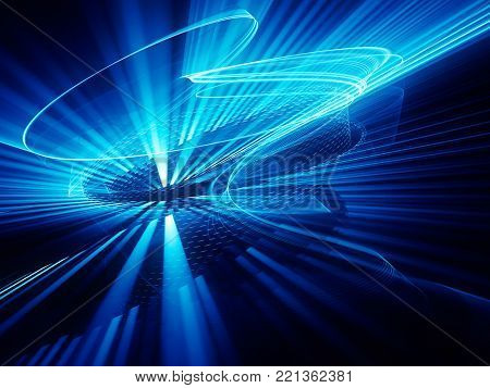 Abstract blue and black background. Fractal graphics series. Dynamic composition of dots, traces and beams.