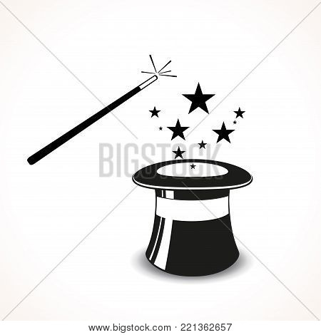 Illustration of magic hat with wand concept