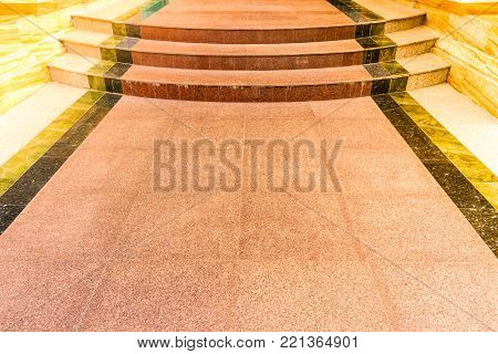 Marble Tile Of Walkway With Stairs