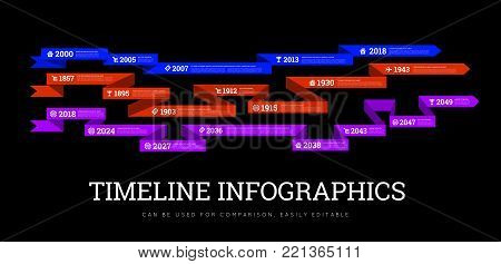 Timeline element vector infographic on black background. Can be used to compare activities or biographies