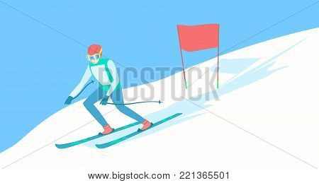 Alpine Skiing or downhill skiing - Men Slalom. Alpine skier on the ski track. Descent from the mountain. Vector illustration EPS-8.