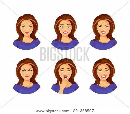 Set of young woman with different facial expressions and emotions. Vector illustration