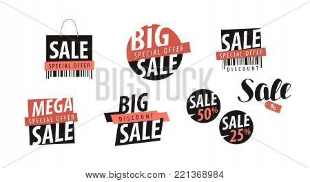 Sale logo or label. Shopping, closeout, discount icon. Vector illustration isolated on white background