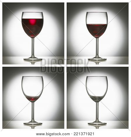 FOUR PICTURE SEQUENCE OF GLASS OF RED WINE FROM FULL TO EMPTY