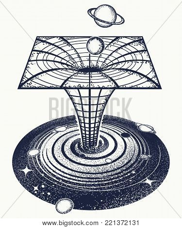 Black hole tattoo and t-shirt design. Symbol of science, astronomy, gravitational waves, curvature of space and time.  Wormhole tattoo. Surreal art. Black hole sci-fi concept