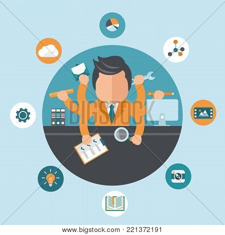 Man working on different projects from his office. Self employment and multitasking concept. Flat vector illustration