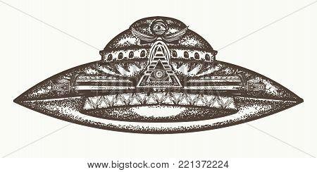 UFO ship vector. Ufo alien spaceship hand drawn graphic