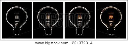 FOUR PICTURE SEQUENCE OF TUNGSTEN FILAMENT LIGHT BULB WARMING FROM COLD TO HOT