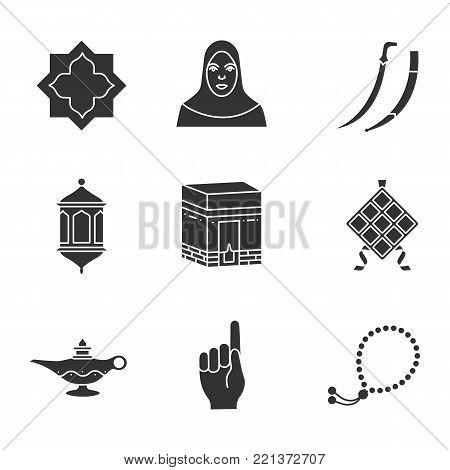 Islamic culture glyph icons set. Islamic star, muslim woman, scimitar sword, lantern, kaaba, ketupat, oil lamp, god gesture, misbaha. Silhouette symbols. Vector isolated illustration