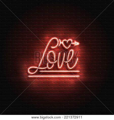 Neon sign, the word love on a brick wall background. Element for the St. Valentine's Day design. Can be used for greeting cards, banners.