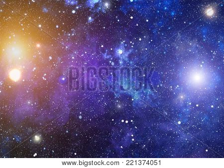 Deep space background with stardust and shining star. Milky way cosmic background. Star dust and pixie dust glitter space backdrop. Space stars and planet conceptual image. poster