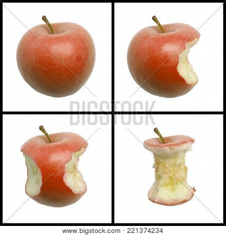 FOUR PICTURE SEQUENCE OF BITES IN RED APPLE