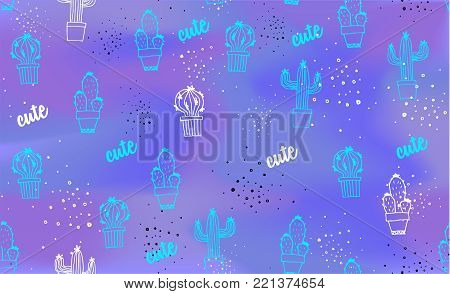 Cactus pattern. Cacti in pots. Fluorescent Vector background. Cute cartoon cactus poster or banner on modern fluorescent template. Trendy 80's and 90's style easy editable for Your Design.