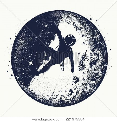 Astronaut tattoo and t-shirt design. Astronaut on the moon. Spaceman new planets. Research symbol space, Universe. Brave astronaut at the spacewalk on the moon tattoo