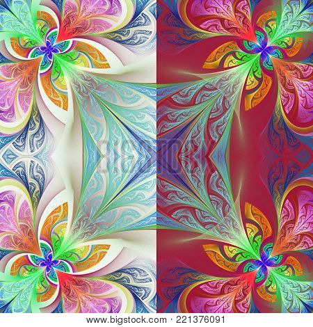 Two-tone flower pattern in stained-glass window style. You can use it for invitations, notebook covers, phone case, postcards, cards, wallpapers and so on. Artwork for creative design, art and entertainment.