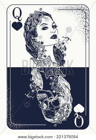 Queen card tattoo and t-shirt design. Beautiful girl and queen skeleton, Gothic play card. Symbol of gamblings, tarot cards, success and defeat, casino, poker tattoo