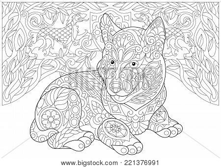 Coloring Page. Adult Coloring Book. Siberian Husky Puppy (Alaskan malamute). Coat of arms with two Heraldic Dogs. Freehand sketch drawing with doodle and zentangle elements.