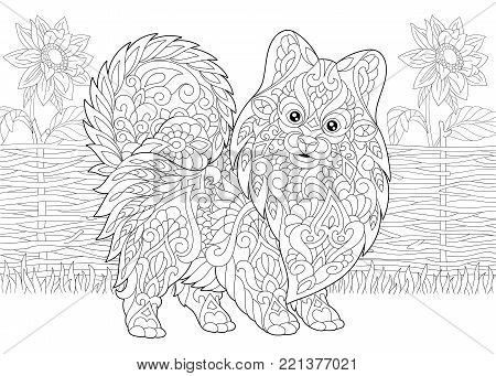 Coloring Page. Adult Coloring Book. Pomeranian spitz, dog symbol of 2018 Chinese New Year. Rural scene with sunflowers. Antistress freehand sketch drawing with doodle and zentangle elements.