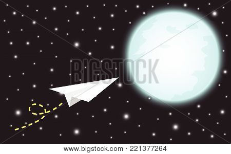 Vector Illustration Business Concept As A Paper Rocket Is Flying To The Shinning Blue Full Moon. It Means Dreaming Or Hoping To Achieve, Succeed, Attain The Big Target Or Overcome Difficulty Ahead.