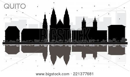 Quito Ecuador City skyline black and white silhouette with Reflections. Simple flat illustration for tourism presentation, banner, placard or web site. Quito Cityscape with landmarks