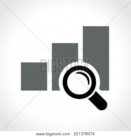 Illustration of graph with magnifying glass icon on white background